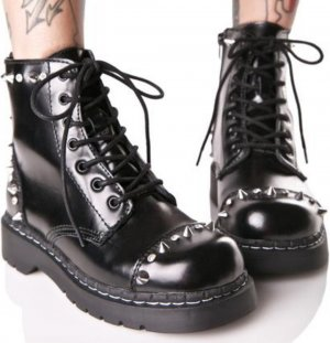 T.U.K Anarchic Leather Studded Boots
