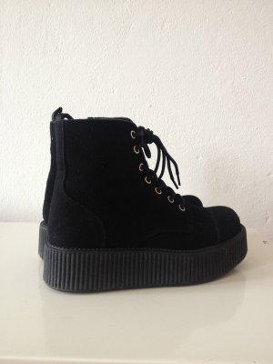 T.U.K Platform Schuhe schwarz Leder