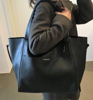 * TAHARI * NEU ! XL SHOPPER schwarz Kunstleder Schultertasche minimalistisch