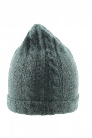 Tahari Knitted Hat green cable stitch simple style