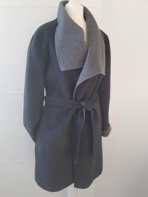 TAHARI Wickel-Mantel, grau, Gr.38, großer Kragen, mit Wolle