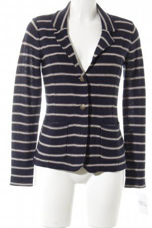 Tahari Blazer en laine bleu foncé-crème rayures horizontales style marin
