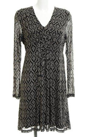Taifun Abendkleid schwarz-beige abstraktes Muster Casual-Look