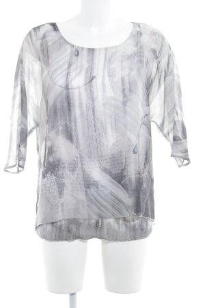 Taifun Inserción de blusa gris claro-gris estampado con diseño abstracto