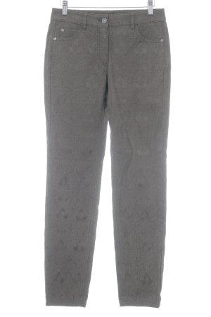 Taifun Pantalone cinque tasche marrone-grigio motivo astratto stile stravagante