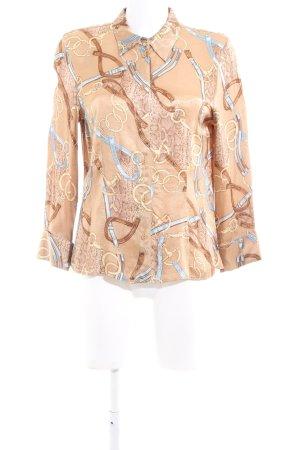 Taifun Glanzende blouse bruin-blauw volledige print elegant