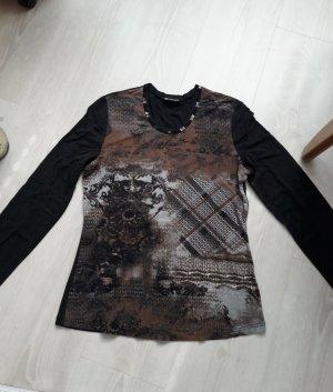 Taifun: grau braun Shirt Langarm Größe 40