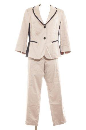 Taifun Tailleur-pantalon beige-bleu foncé style décontracté