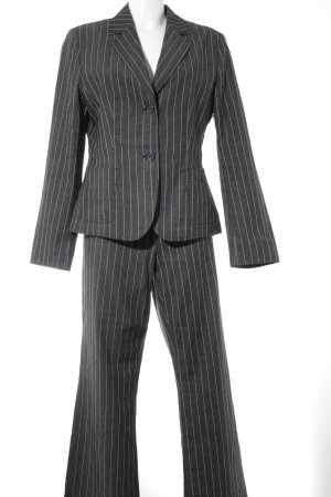 Taifun Traje de pantalón gris-blanco estampado a rayas estilo «business»
