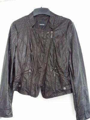 Taifun Faux Leather Jacket black brown imitation leather
