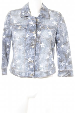 Taifun Denim Jacket steel blue-slate-gray spots-of-color pattern casual look