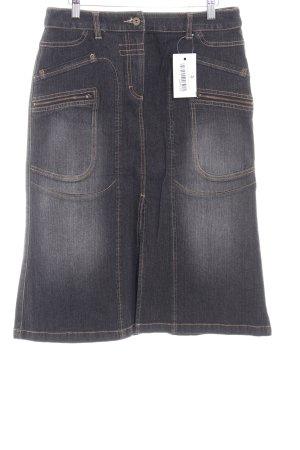 Taifun Jeansrock anthrazit-schwarz Jeans-Optik