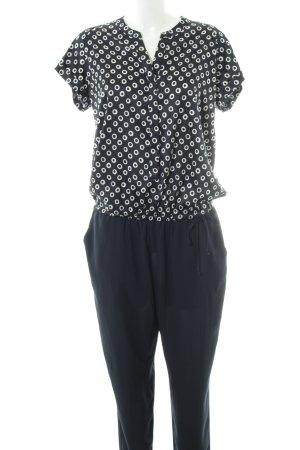 Taifun Jumpsuit schwarz-weiß Allover-Druck Business-Look