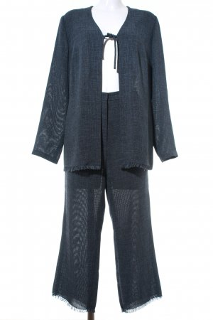 Taifun Trouser Suit dark blue-slate-gray flecked business style
