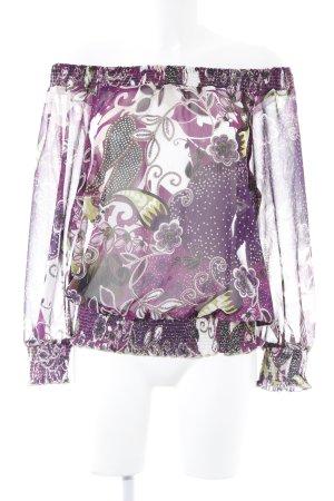 Taifun Langarm-Bluse flieder florales Muster schlichter Stil