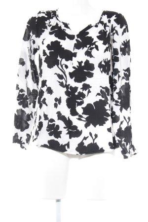 Taifun Langarm-Bluse schwarz-weiß florales Muster Casual-Look