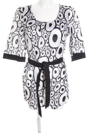 Taifun Minikleid weiß-schwarz abstraktes Muster extravaganter Stil