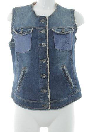 Taifun Separates Gilet en jean bleu foncé pailleté