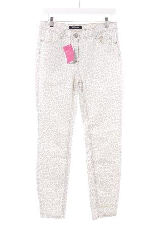 Taifun Slim Jeans creme-dunkelgrau Animalmuster Casual-Look