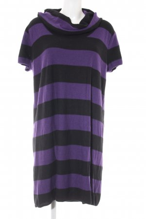 Taifun Strickkleid schwarz-dunkelviolett Ringelmuster Casual-Look