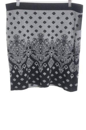 Taifun Jupe tricotée noir-gris motif abstrait style décontracté