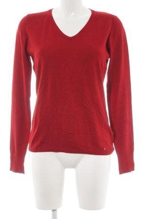 Taifun Camisa tejida rojo oscuro look casual