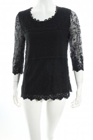Taifun Sweatshirt schwarz florales Muster Spitzenbesatz