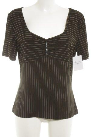 Taifun T-Shirt schwarz-goldorange Streifenmuster Casual-Look