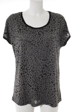 Taifun T-Shirt schwarz-grau Leomuster Animal-Look
