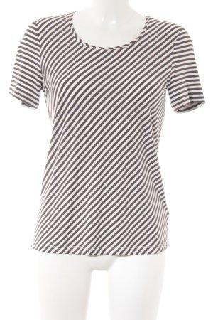 Taifun T-Shirt weiß-dunkelbraun Streifenmuster Casual-Look