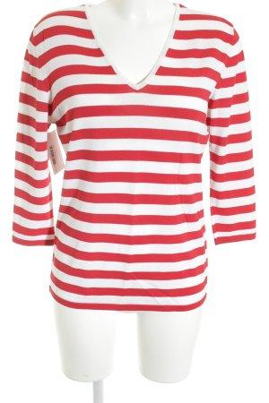 Taifun V-Ausschnitt-Shirt wollweiß-rot Streifenmuster Casual-Look