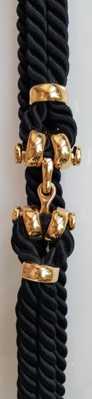 Taillengürtel, Kordel, Schwarz-Gold, Zierschließe, 75 cm, neuwertig!
