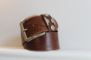 Waist Belt brown-silver-colored leather