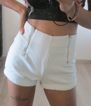 Taillenhose mit Reißverschluss weiß S/M