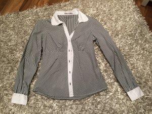 Taillierte Bluse, Anthrazit/weiß gestreift