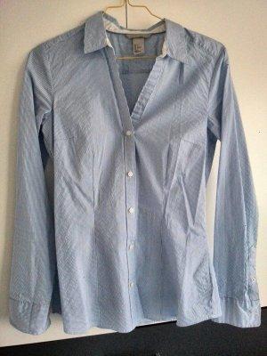 Taillierte Bluse Blau-Weiß gestreift