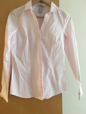 Taillierte Business Bluse on rosa / weiss
