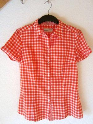 Taillierte Hemdbluse mit rot-weißem Karo