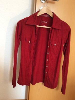 Zero Chemise à manches longues rouge foncé coton