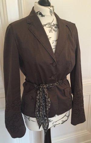 Taillierte Jacke Blazer mit floraler Stickerei & Bindegürtel mit Seide