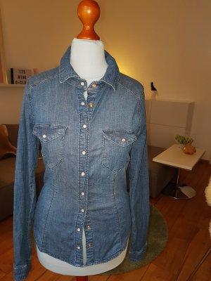 Taillierte Jeansbluse