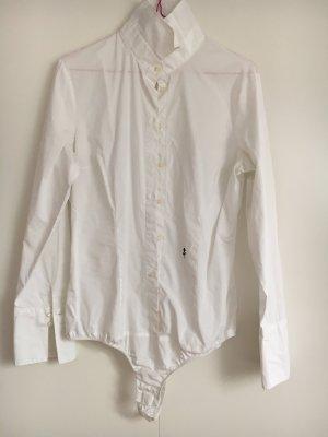 Taillierte weiße BodyBluse-perfekt fürs Büro