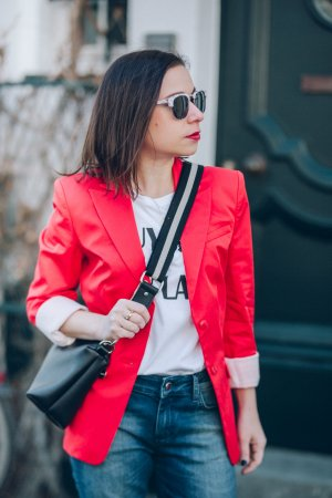 (The Mercer) NY Blazer court rouge-blanc coton
