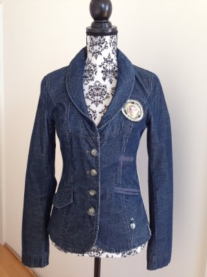 Taillierter Feincord-Blazer in Jeansblau, Größe 34/36