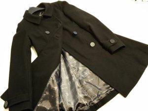 Taillierter Wollmantel schwarz