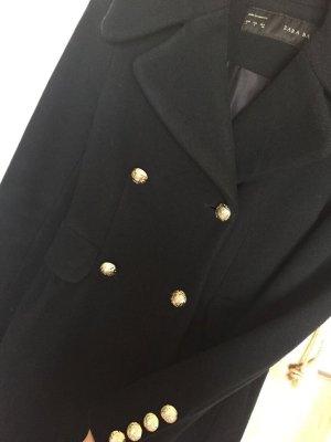 Zara Basic Wollen jas donkerblauw-goud