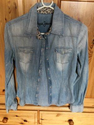 Pepe Jeans Chemise en jean bleu azur-blanc