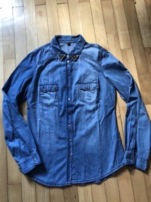 Pimkie Camisa vaquera azul-color plata