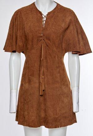 Zara Robe en cuir bronze cuir