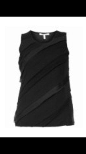 Tailliertes, schwarzes Top mit Chiffon-Details, Steilmann, Größe 44